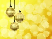 Golden Disco Balls Against Bokeh Stock Photo
