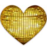 Golden disco heart Stock Photography