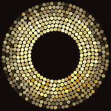 Golden disco lights frame. Abstract mosaic background, concentric circles of glowing pixels - vector illustration Stock Photo
