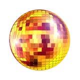 Golden disco mirror ball Stock Photos