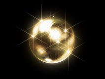 Golden disco sphere. 3d rendered illustration of a golden disco ball on a black background Stock Image