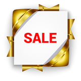 Golden discount banner. Golden 3D banner for sale. White square background tied with bright ribbons. Realistic ads for the Internet and print. button for Stock Photography