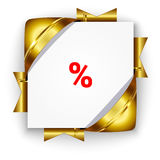 Golden discount banner. Golden 3d discount banner. White square background tied with ribbons. Realistic ads for the Internet and print. button for websites Stock Image