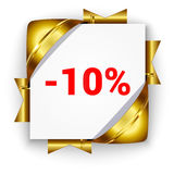 Golden discount banner. Golden 3d discount banner. White square background tied with ribbons. Sign of 10 percent. Realistic ads for the Internet and print Royalty Free Stock Photo
