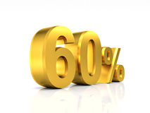 Golden 60 discount. 3d image background royalty free illustration