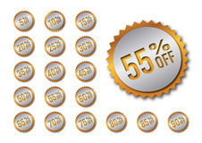 Golden discount tags Royalty Free Stock Photo
