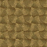 Golden discs. Circular tribal print in gold that can be seamlessly tiled Stock Photo