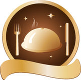 Golden dish with fork and knife. Prestige golden symbol with hot dish and cutlery Stock Image