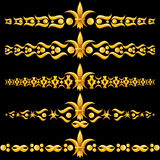 Golden dividers with fleur-de-lis Royalty Free Stock Photos