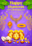 Golden diya with pot of god coin on Happy Diwali Dhanteras background. Illustration of golden diya with pot of god coin on Happy Diwali Dhanteras background Stock Photos