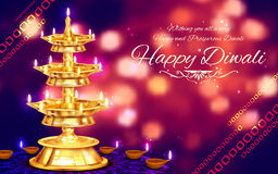 Golden diya stand on abstract Diwali background Royalty Free Stock Photos