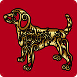 Golden dog ornament Stock Image