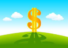 Golden dollar. On a green meadow Royalty Free Stock Photo
