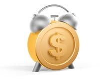 Golden dollar clock. 3d golden dollar clock on white background Stock Photography