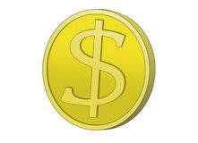 Golden Dollar Coin. Golden Coin with dollar sign. Symbol for wealth and dollar currency Royalty Free Stock Images