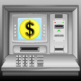 Golden Dollar coin on cash machine blue screen  Stock Photo