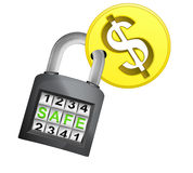 Golden Dollar coin caught in security closed padlock isolated vector Stock Image
