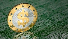 Golden Dollar coin Stock Photos