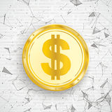 Golden Dollar Coin Digital Network Connected Dots Stock Image