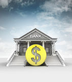 Golden Dollar coin in front of bank in classic style with sky. Illustration Stock Photos