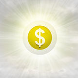 Golden Dollar coin in glossy bubble in the air with flare Royalty Free Stock Photos