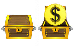 Golden Dollar coin in open wooden chest and closed one isolated vector Royalty Free Stock Photos