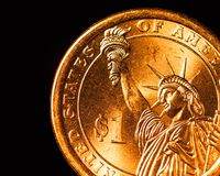 Golden dollar coin part Royalty Free Stock Images