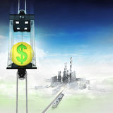 Golden Dollar coin in sky space elevator concept above city Stock Photos