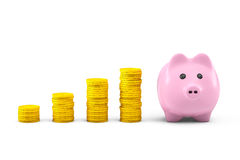 Golden dollar coin stacks with pink piggy bank Stock Images