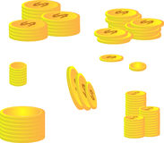 Golden dollar coins Royalty Free Stock Image