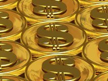 Golden dollar coins Stock Photos