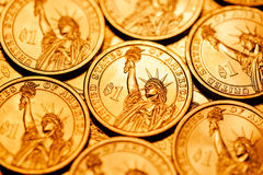 Golden dollar coins background Royalty Free Stock Photo