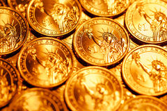 Golden dollar coins background Royalty Free Stock Image