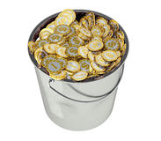Golden Dollar coins in Bucket - isolated on white Stock Photos