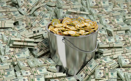 Golden Dollar coins in Bucket Royalty Free Stock Image