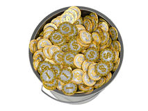 Golden Dollar coins in Bucket -  on white Stock Photos