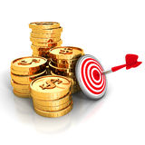 Golden Dollar Coins With Darts Target and Arrow. 3d Render Illustration Royalty Free Stock Image