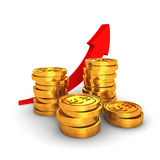 Golden dollar coins with growing arrow on white background Royalty Free Stock Image
