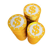 Golden Dollar coins - isolated on white Stock Photos