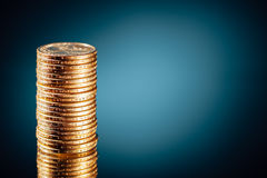 Golden dollar coins stack stock photography