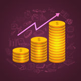 Golden dollar coins stack with infographic elements. Royalty Free Stock Image