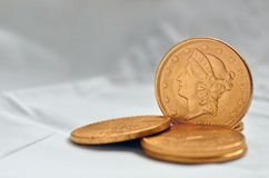 Golden dollar coins from 1900 Royalty Free Stock Images
