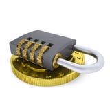 Golden Dollar and combination lock Stock Photo