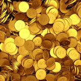 Golden dollar currency coins chaotic heap background. 3d render illustration Royalty Free Stock Images