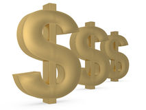 Golden dollar currency sign Stock Images
