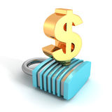 Golden Dollar Currency Sign On Security Concept Padlock. 3d Render Illustration Stock Images