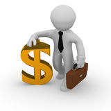 Golden dollar. 3d business man with a golden dollar icon Royalty Free Stock Photo