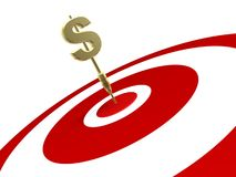 Golden Dollar Dart Hit On Target Stock Photography
