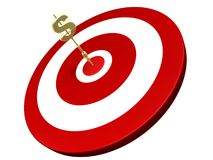 Golden Dollar Dart Hit On Target Stock Images