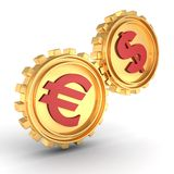 Golden dollar and euro gear wheels connected work Royalty Free Stock Photography